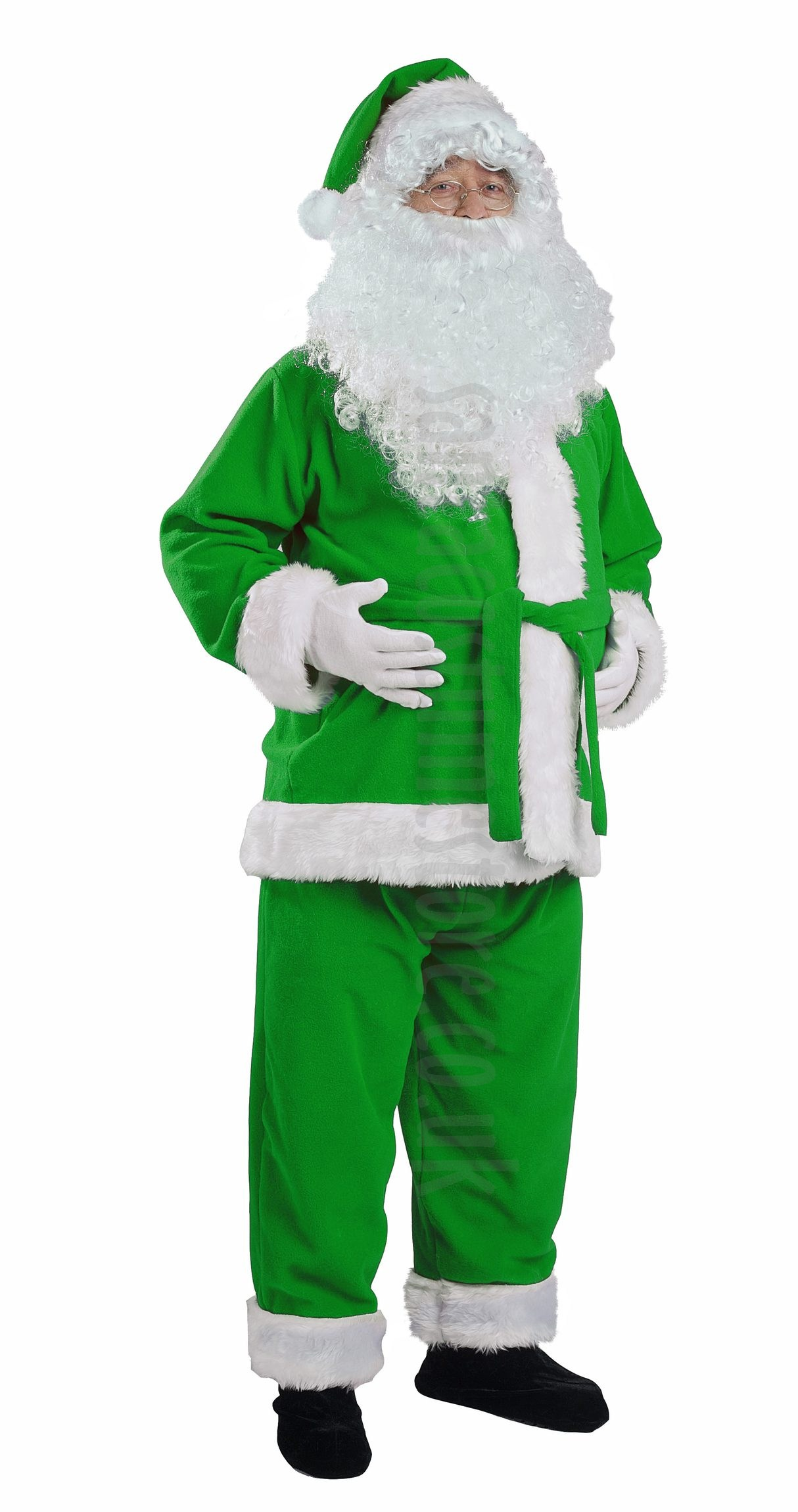 Santa in green coat