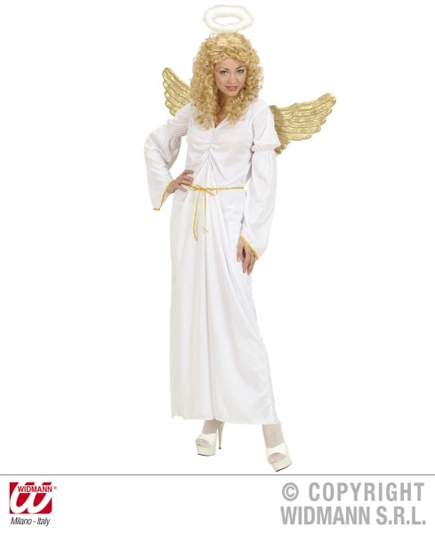 angel costume - golden wings, halo, long white dress