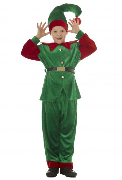 velour elf costume - children, green elf suit for boys