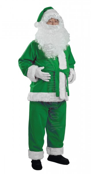 leaf green Santa suit made of fleece - jacket, trousers and hat