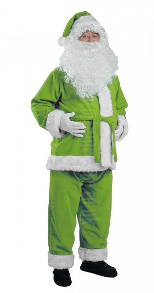 light olive green Santa suit made of fleece - jacket, trousers and hat