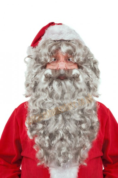grey Santa beard with wig - front view
