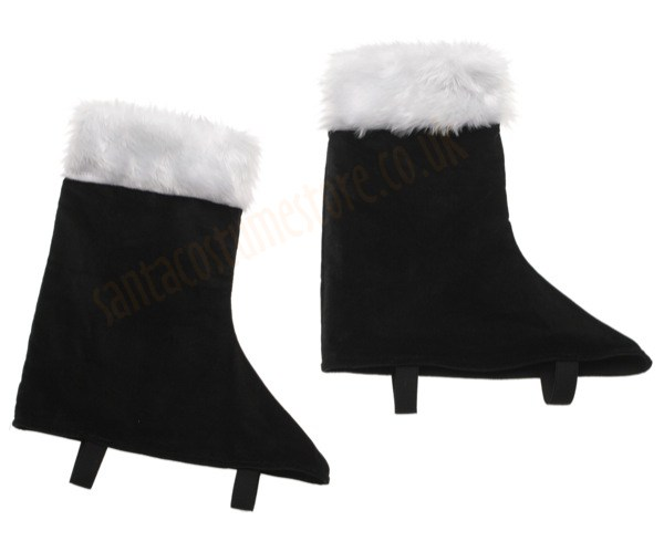 Santa boot covers, black velvet boot covers