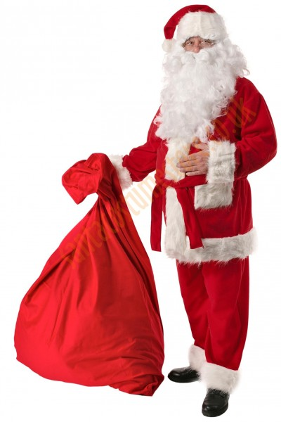 Santa suit with long fur - sack for presents/glasses
