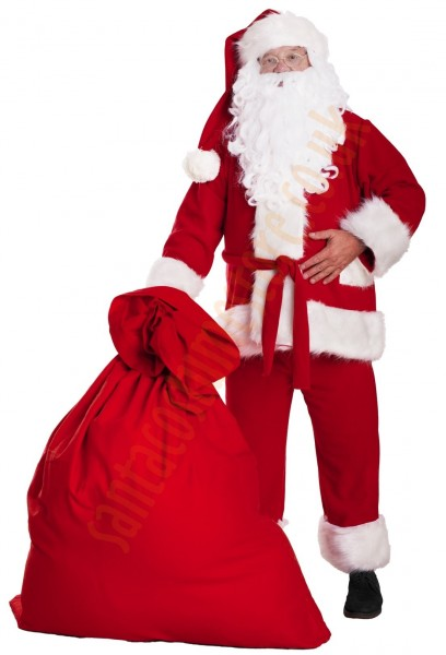 Professional Santa suit with long fur - sack for presents/glasses