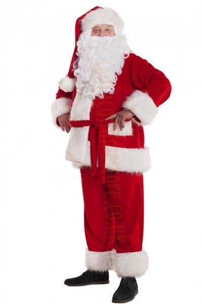 Professional Santa suit with long fur - jacket, trousers, hat and beard
