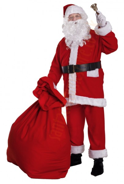 Santa suit made of fleece - complete (bell, gloves, T-shirt)