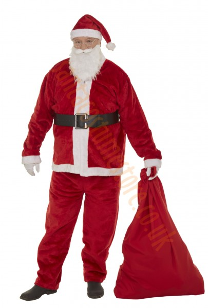 strong red plush Santa costume - sack and glasses