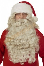authentic santa beard with wig, natural santa beard with hat