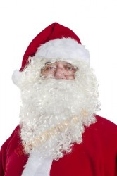 curly Santa beard with wig, white Santa beard