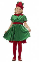 girl's elf costume, velour elf suit for kids