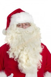 long pale cream Santa beard (40cm) with wig - front view