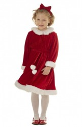 red velour miss santa suit for kids