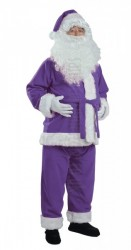 purple Santa suit made of fleece - jacket, trousers, hat