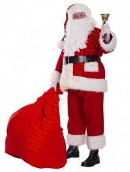 Professional Santa suit with long fur - bell, gloves