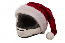 Santa's hat for motorcycle helmets