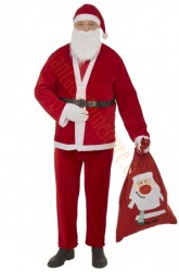 thin plush Santa suit  set- sack and gloves